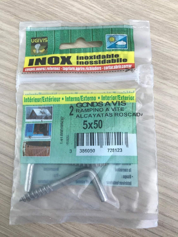 2,5x25 mm en INOX A2 UGIVIS Sachet de 6 Gonds /à vis Crochets
