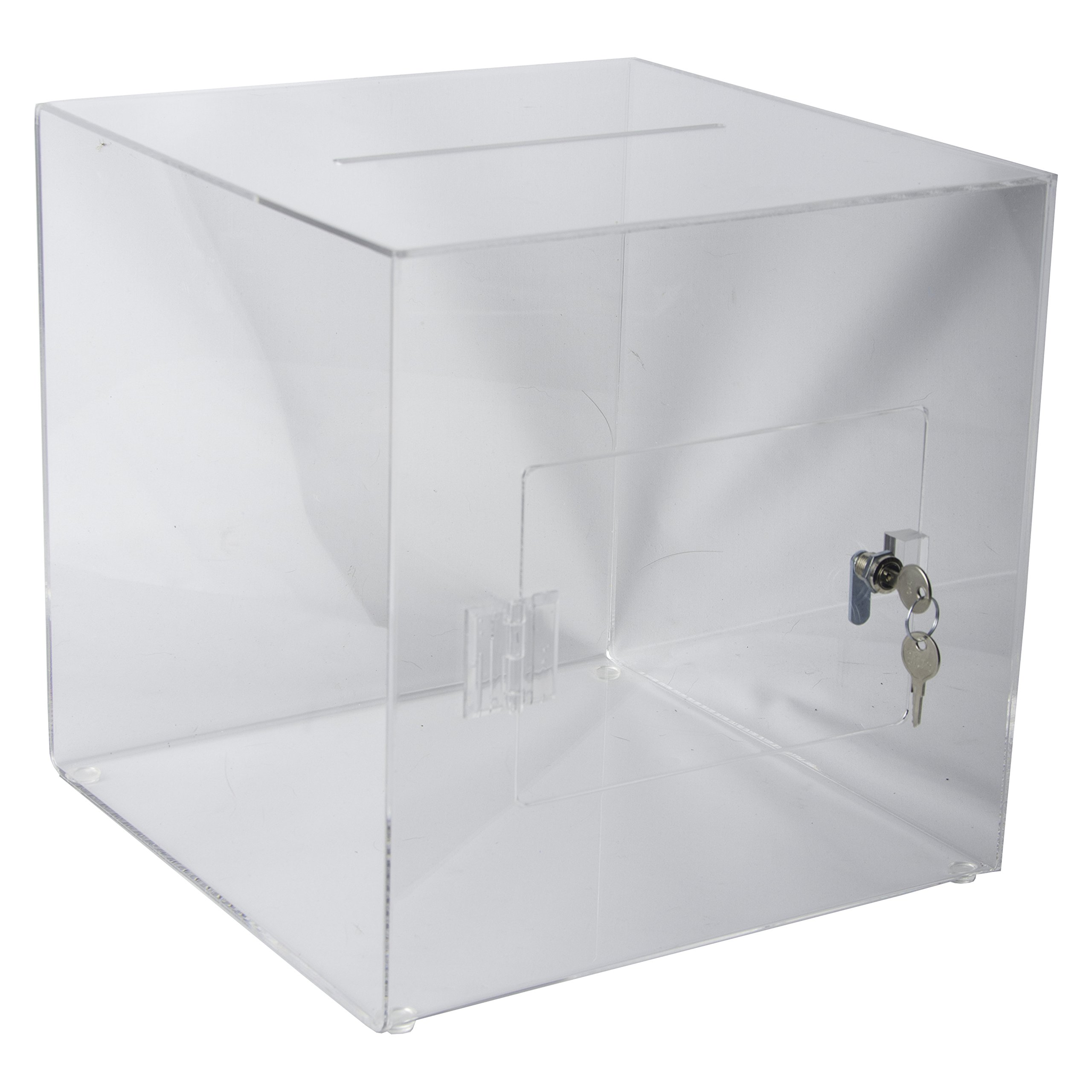 Clear-Ad - SBA-1111 - Acrylic Ballot Box with Lock - Plastic Container for Donation Voting, Charity, Survey, Raffle, Contest, Suggestions, Tips, Comments (11x11x11 Clear)
