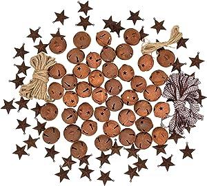Artiflr 80 Pcs Rusty Metal Christmas Jingle Bells with Mini Rusted Metal Barn Stars, Sleigh Bells Rustic Craft Stars Cutouts with Jute Twine Plaid Ribbon for Christmas Tree Holiday Decor