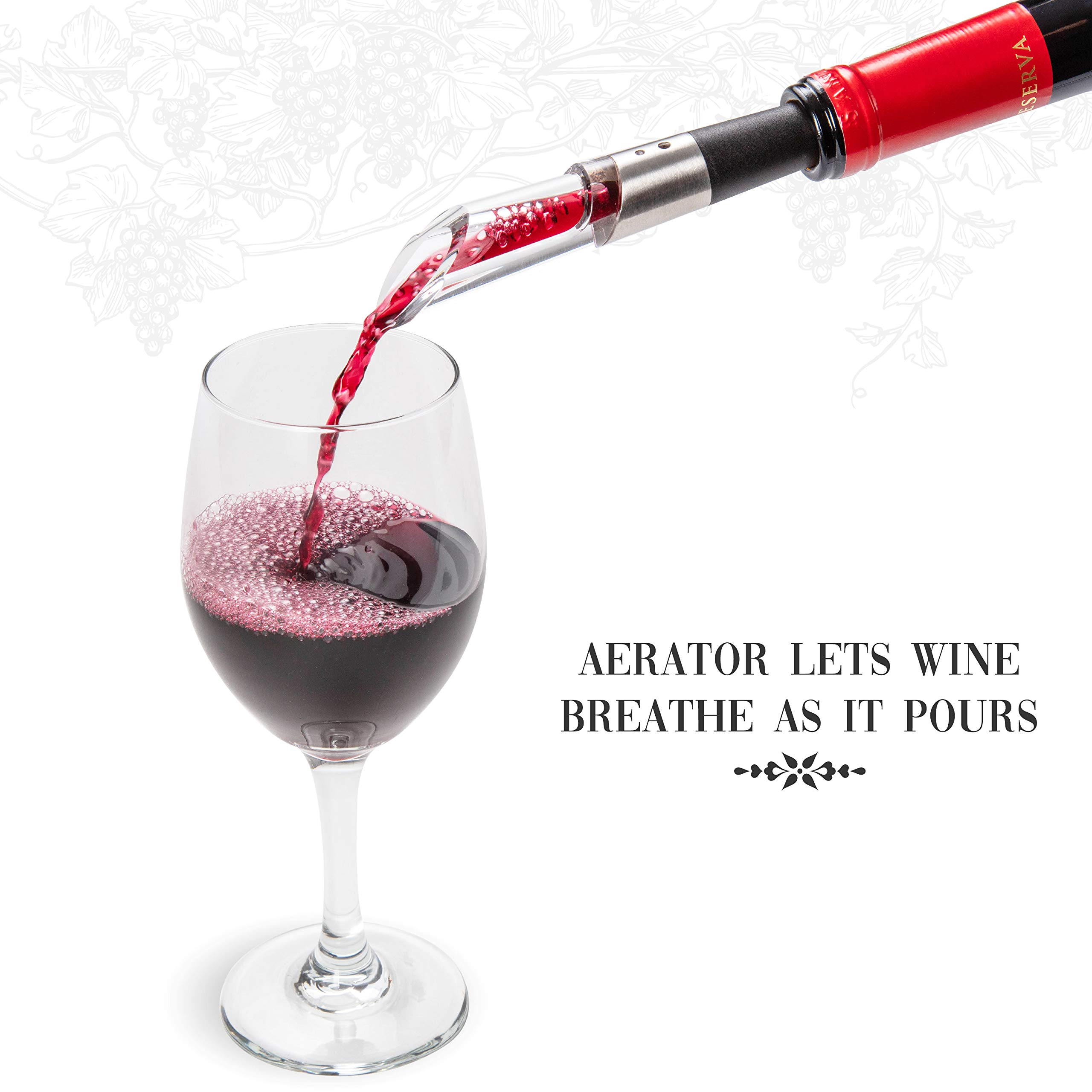 Ivation Wine Gift Set, Includes Electric Wine Bottle Opener, Wine Aerator, Vacuum Wine Preserver, 2 Bottle Stoppers, Foil Cutter & Charging Base by Ivation (Image #6)