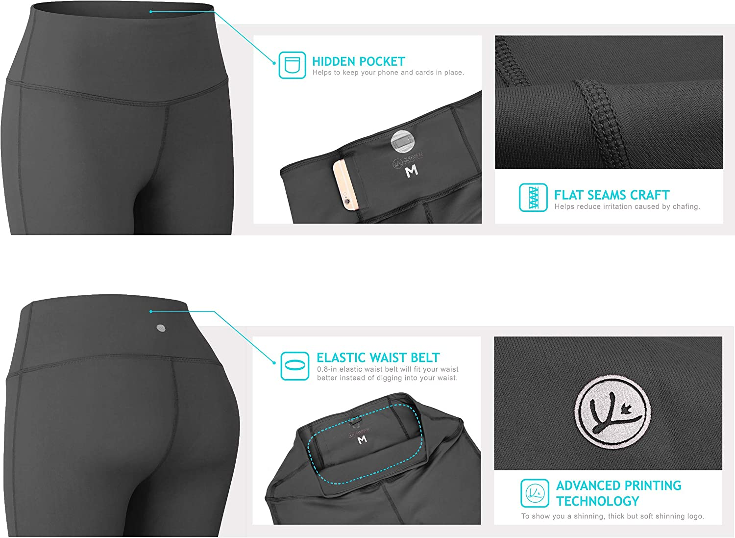 QUEENIEKE Yoga Leggings with Pocket Classic Tummy Control Medium Waist Running Pants Workout Tights for Women 60126