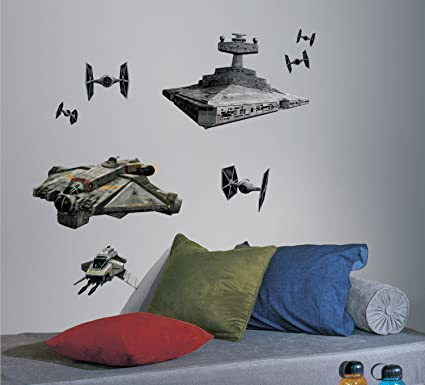 RoomMates RMK2657GM Star Wars Rebel and Imperial Ships Peel and Stick Giant Wall Decals & Amazon.com: RoomMates RMK2657GM Star Wars Rebel and Imperial Ships ...