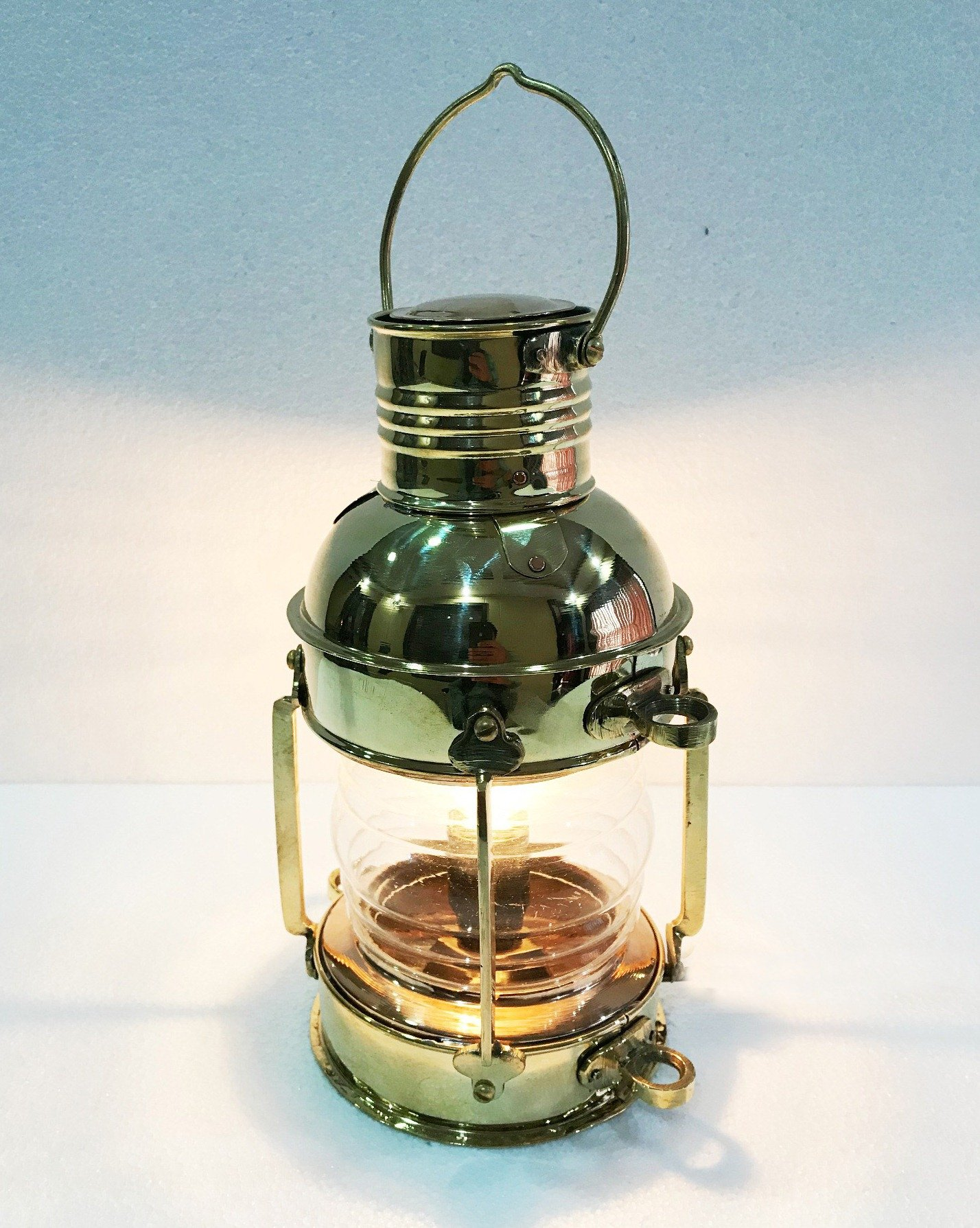 Marine Nautical Store Electric Vintage Stable Gold Brass Lantern Lamp Wall Hanging Home Decor