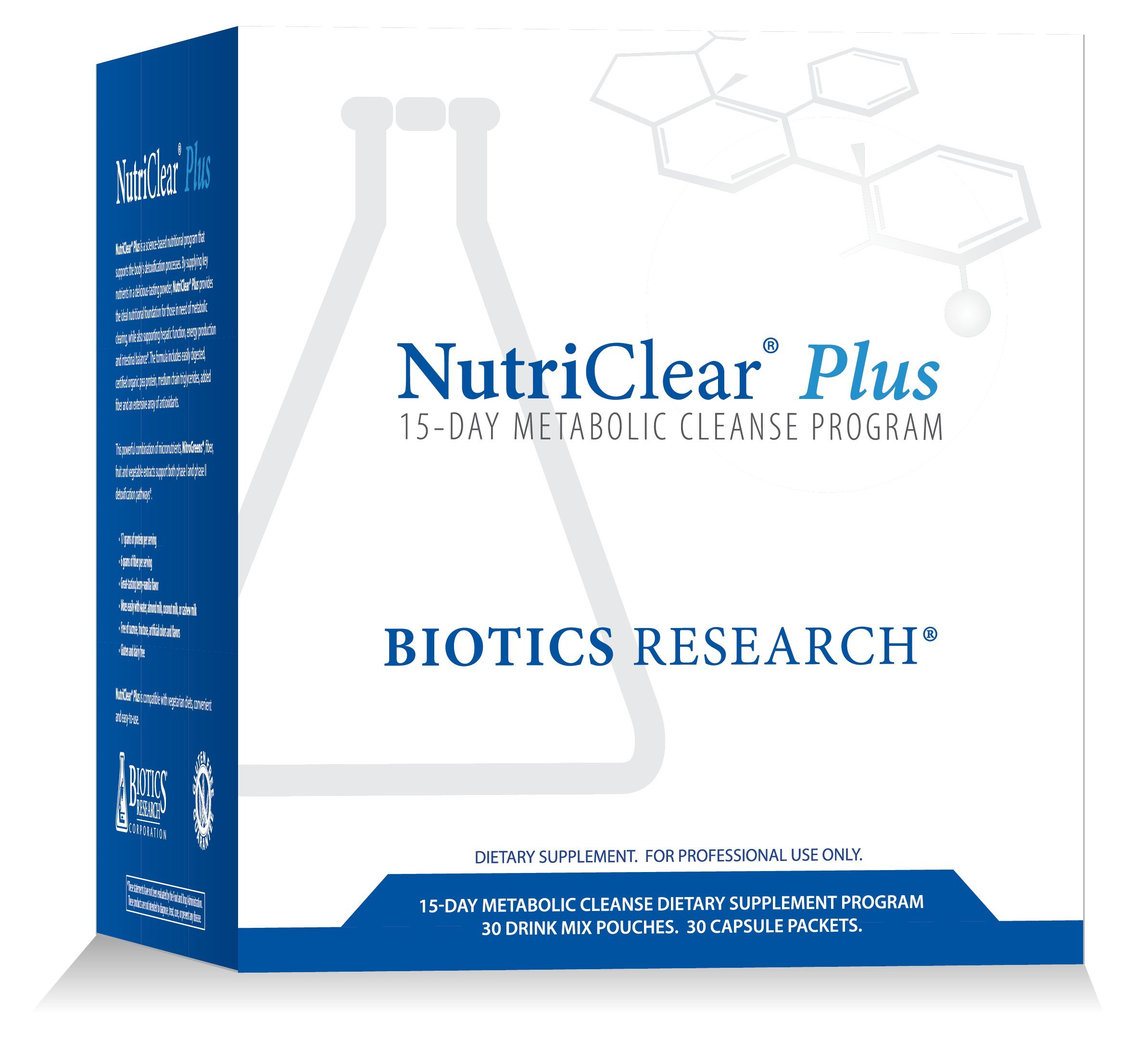 Biotics Research NutriClear® Plus—Detox Program, Convenient. Single Pack Serving. Easy-to-Follow Metabolic Cleanse Program. 17 g Organic Pea Protein/Serving, 30 Packs. Shaker Bottle.