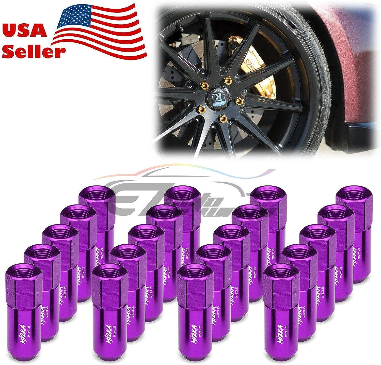 EzAuto Wrap Purple 20 PCS M12x1.25 Lug Nuts 60mm Extended Tuner Aluminum Wheels Rims Cap WN02