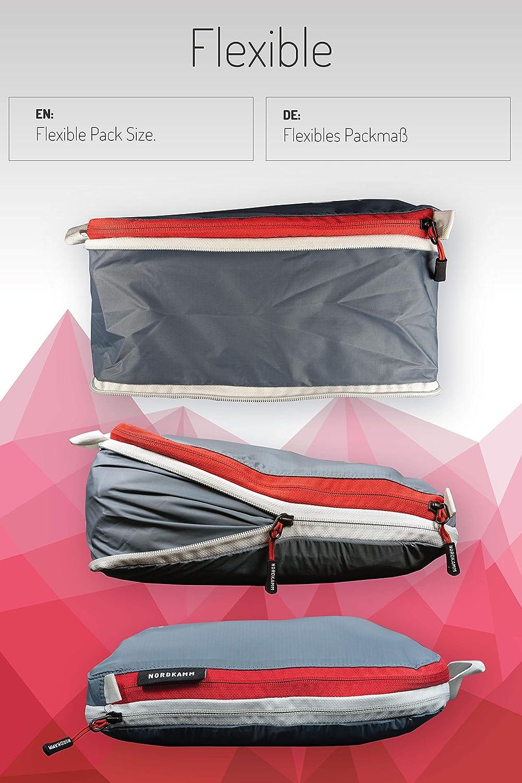 NORDKAMM Organisateur de valise léger organisateurs de voyage seul ou en ensemble avec glissière pour compresser le contenu packing cubes sac de compression voyage organiseurs de bagage