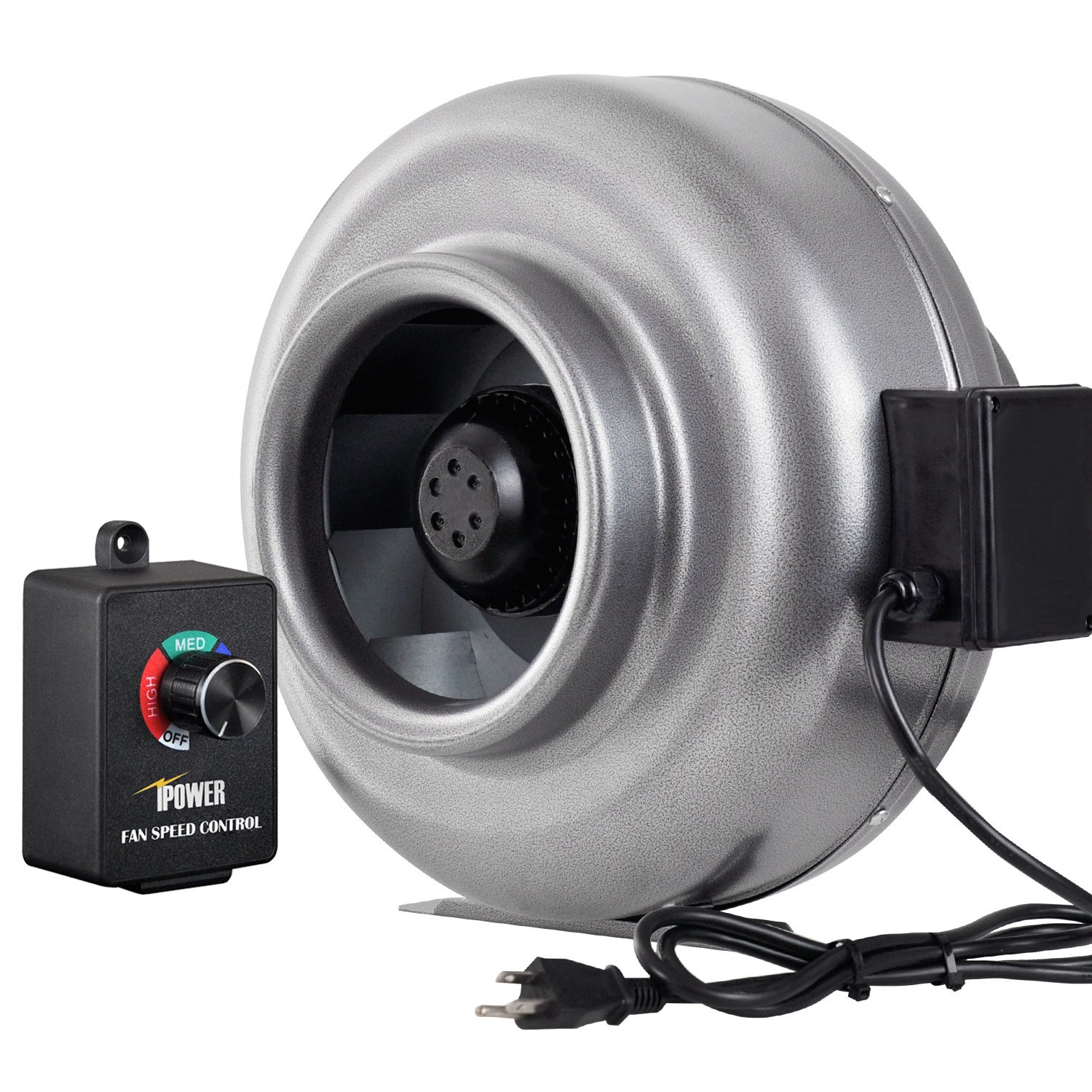 iPower 8 Inch 750 CFM Duct Inline Fan HVAC Exhaust Blower with Variable Speed Controller by iPower