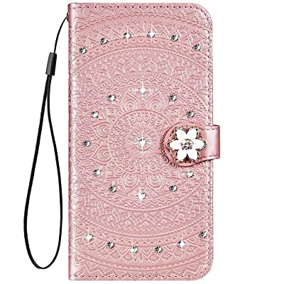 IKASEFU Compatible with Samsung Galaxy A20 Case Glitter mandala Floral Rhinestone Crystal Pu Leather Diamond Bling Wallet Strap Case with Card Holder Magnetic Flip Protective Cover Case,rose gold: Musical Instruments