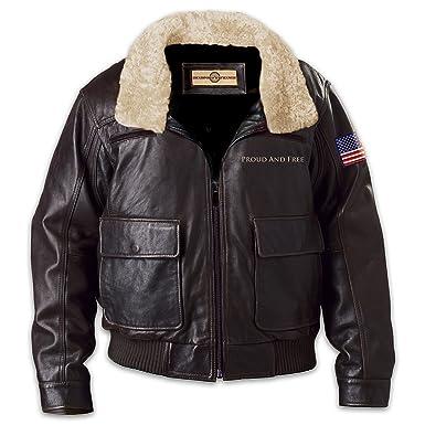 American Pride Men s Aviator Leather Jacket In Dark Brown  Medium by The  Bradford Exchange d6810a165238