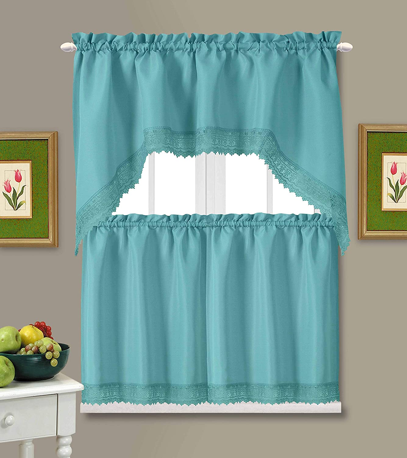 American Linen Café Curtains for Kitchen, Bathroom Curtains with Valance, Embroidered lace Border. (Teal)