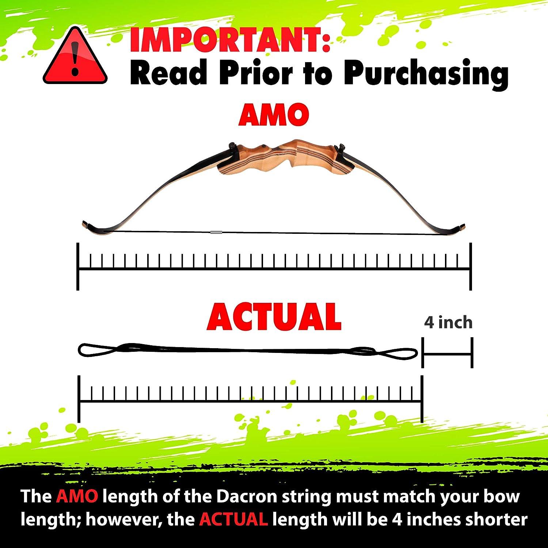 Reemplazo Del Cordaje de Arco de Dacron KESHES Arco Recurvo Tradicional Todos los tama/ños de longitud desde 44-68. String de reemplazo 12,14,16 Strands