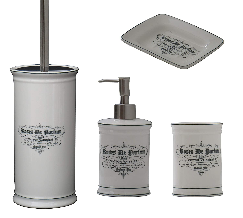 4 pcs Ceramic Bathroom Accessory Set Toilet Brush Holder Tumbler Soap/Lotion Dispenser Soap Dish Ivory Color French Vintage Style Premium Quality and Design Designo Store