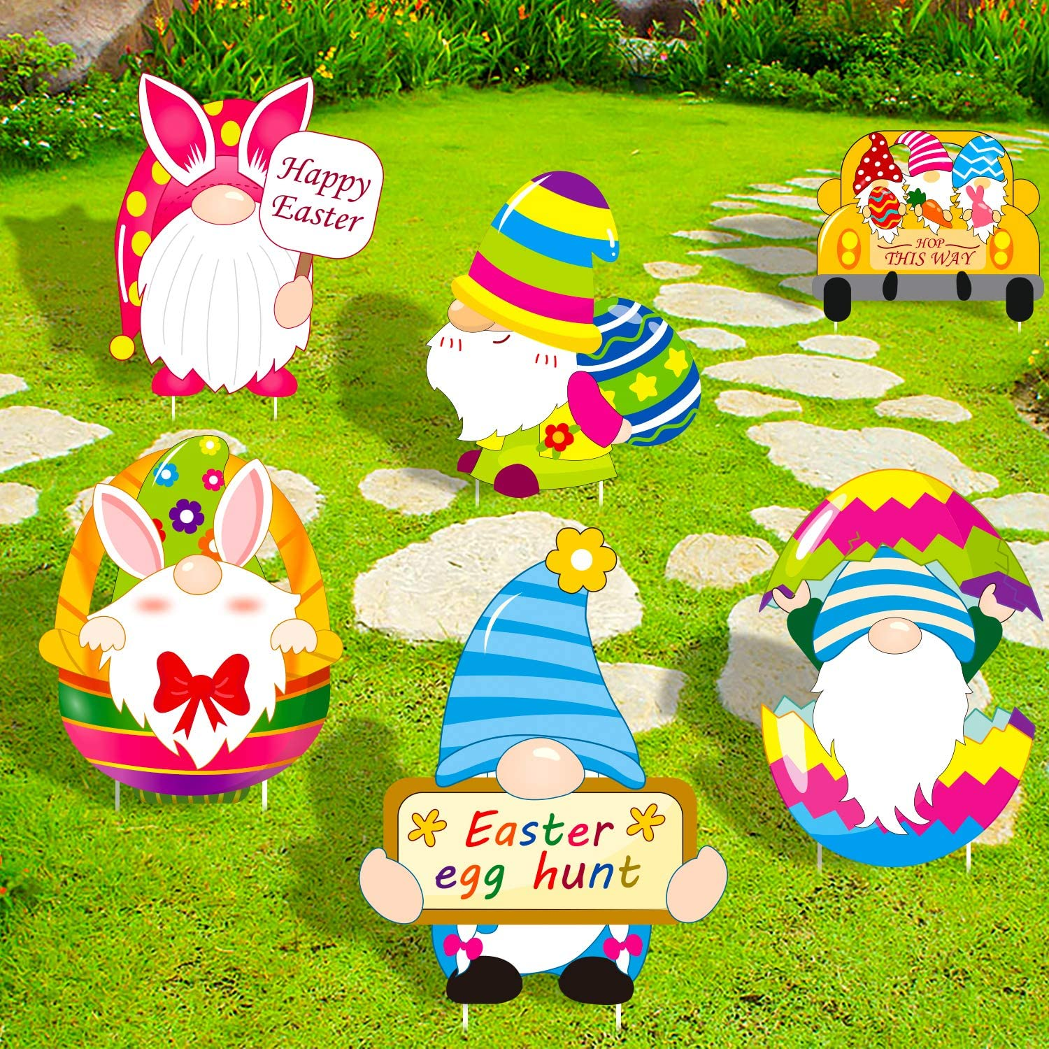 luck sea Easter Decorations Gnomes Yard Signs Stakes - Bunny Eggs Hunt Basket Lawn Outdoor Party Decor Ornaments