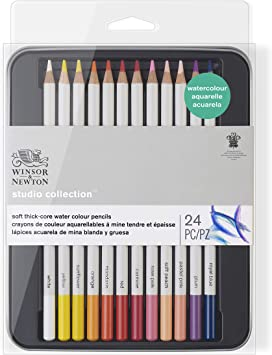 24 PC Winsor /& Newton Studio Collection Soft Thick-Core Water Colour Pencils