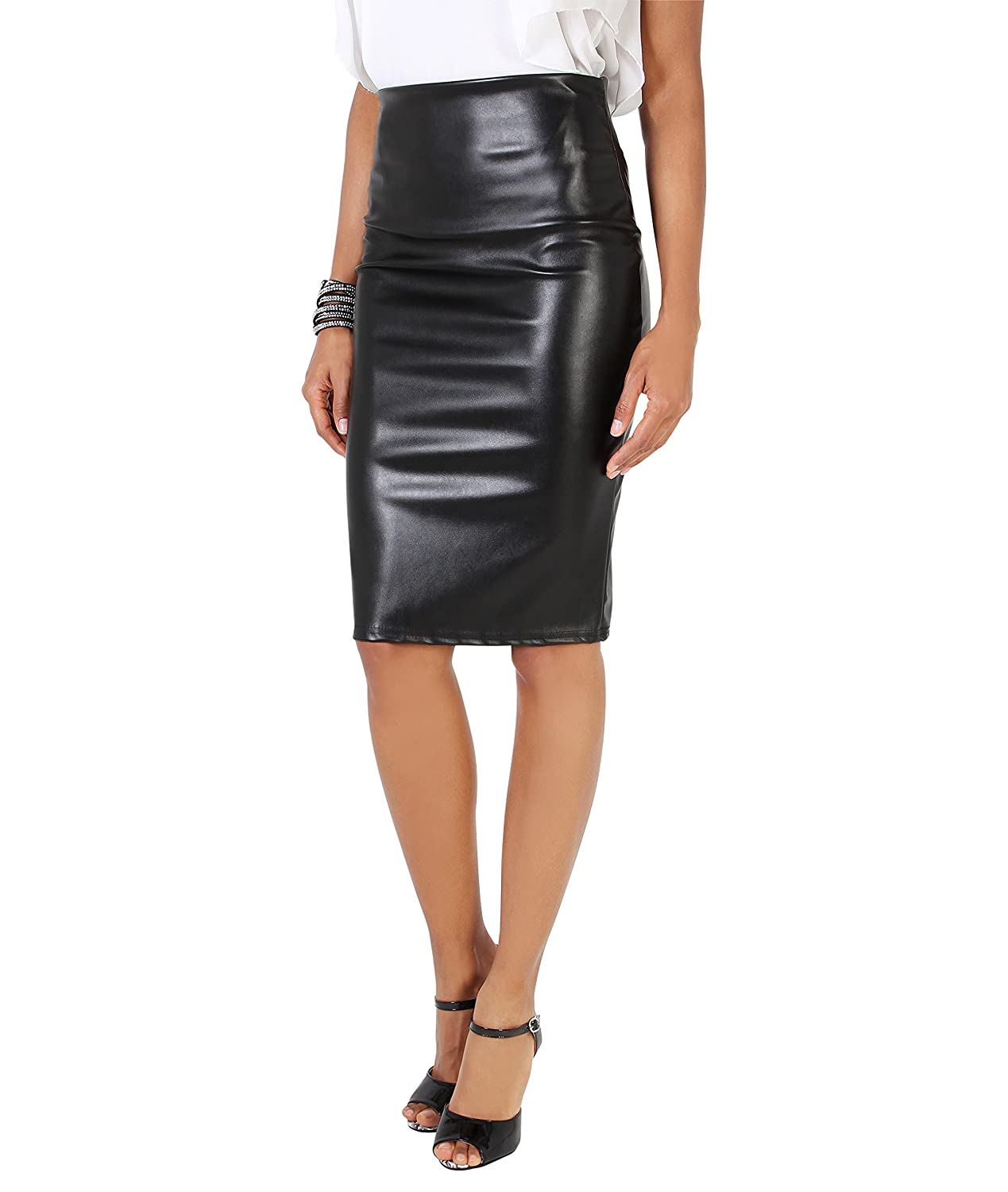 aa02ca7514 Krisp Womens PU Wet Look Stretch PU Leather Pencil Bodycon High Waist Skirt  at Amazon Women's Clothing store: