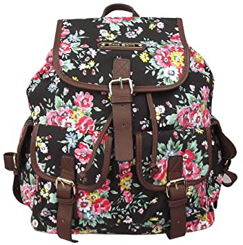 08939cc238 Anna Smith (By LYDC) Floral Frances Backpack   Ladies Girls Designer Flower  Print Canvas