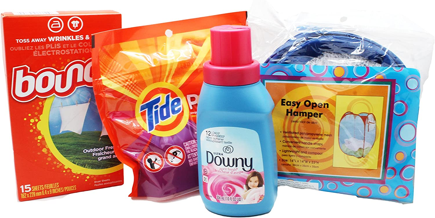 Dorm Room Laundry Kit with Tide Laundry Detergent Pods, Downy Softener, Dryer Sheets & Bonus Hamper