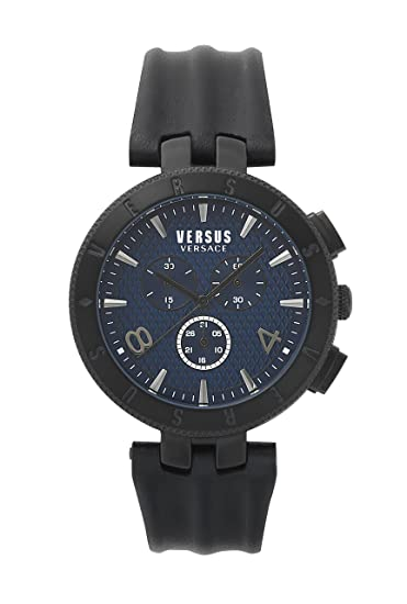 Amazon.com: Versus by Versace Mens Logo Gent Chrono Stainless Steel Quartz Watch with Leather Calfskin Strap, Black, 22 (Model: S76120017: Watches