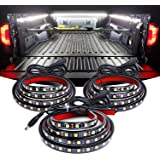 Nilight TR-09 3PCS 60 Bed Light Strip 270 LED with On/Off Switch Blade Fuse Splitter Extension Cable for Cargo, Pickup…
