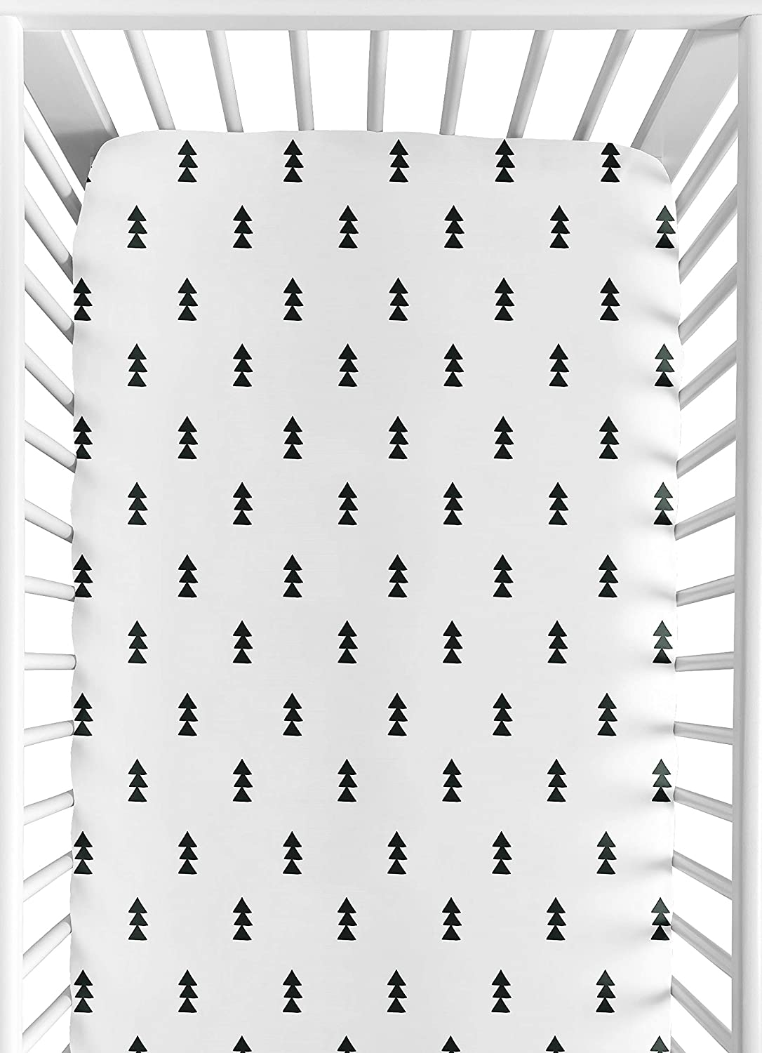 Sweet Jojo Designs Black and White Triangle Tree Baby or Toddler Fitted Crib Sheet for Bear Mountain Watercolor Collection by