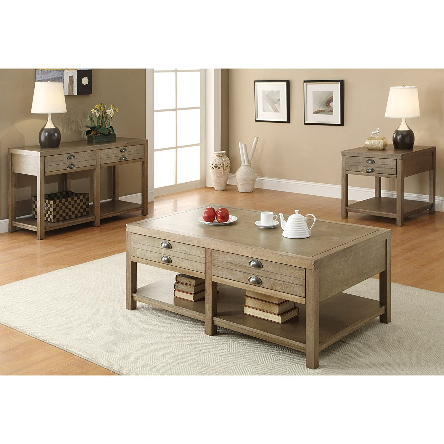 Amazon Com Coaster Home Furnishings Casual Coffee Table Light Oak Kitchen Dining