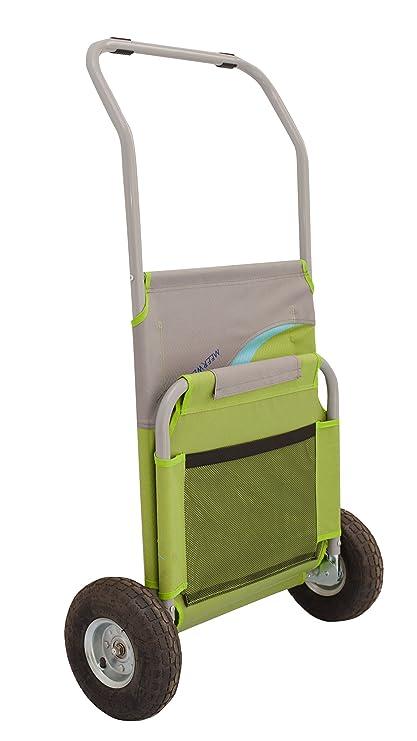 Meerweh Mar WEH Plegable con Bolsa Carro Playa Playa Tumbona, Color Verde/Gris, 118 x 63 x 75 cm