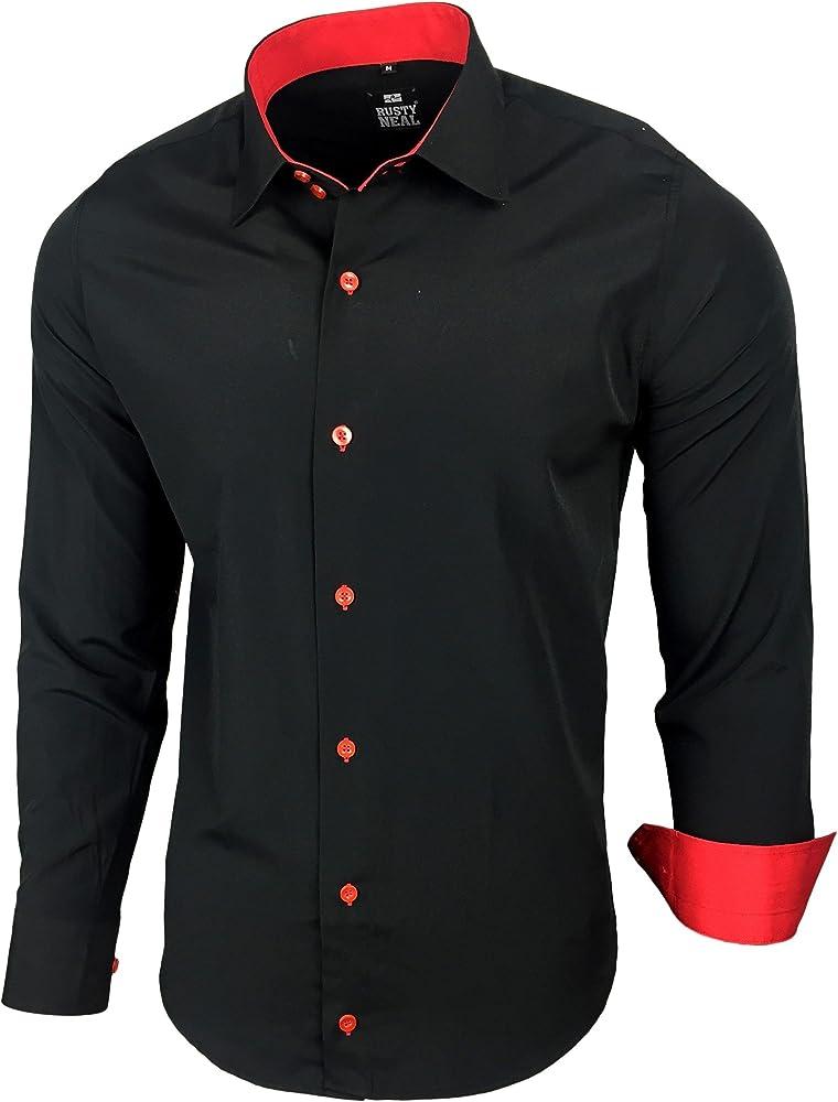 Rusty Neal Hombre Camisa Slim Fit Business boda Tiempo Libre Contraste camisas RN de 44 negro y rojo small: Amazon.es: Ropa y accesorios