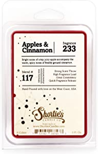 Shortie's Candle Company Apples & Cinnamon Wax Melts - Formula 117-1 Highly Scented 3 Oz. Bar - Made with Natural Oils - Bakery & Food Air Freshener Cubes Collection