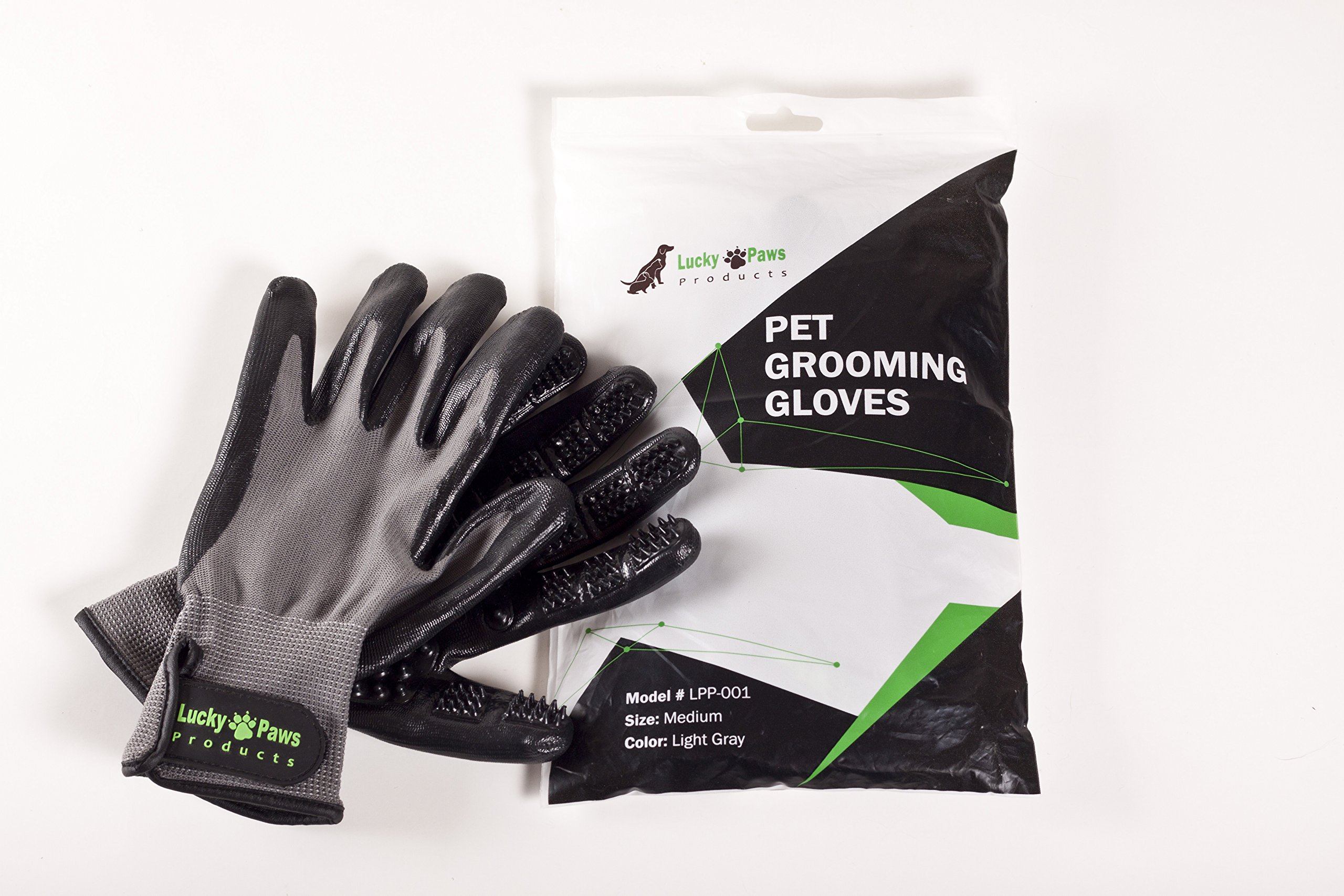 Lucky Paws Products Premium Pet Grooming Gloves – Gentle Deshedding Brush Glove - Use As A Pet Hair Remover for Shedding, Bathing & Grooming - Perfect for Cats, Dogs, Horses Or Other Pets. by Lucky Paws Products (Image #6)