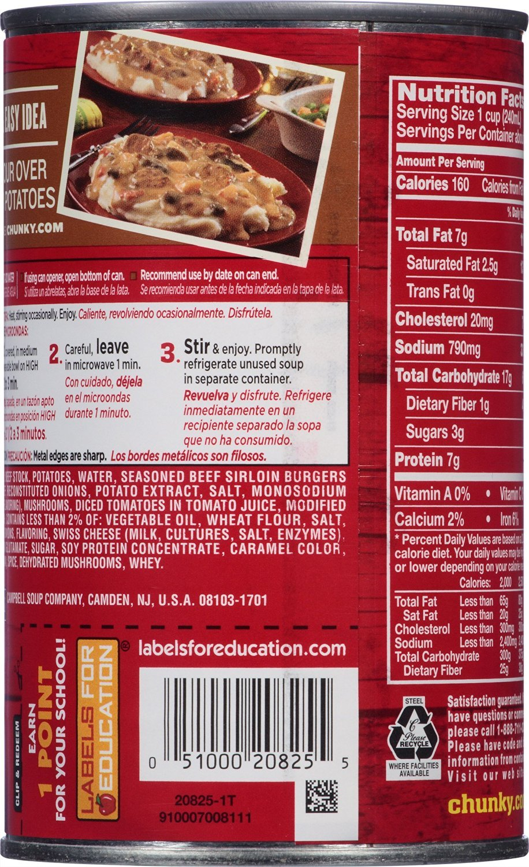 Amazon.com: Campbells Chunky Mushroom Swiss Burger Soup, 18.8 oz. Can: Prime Pantry