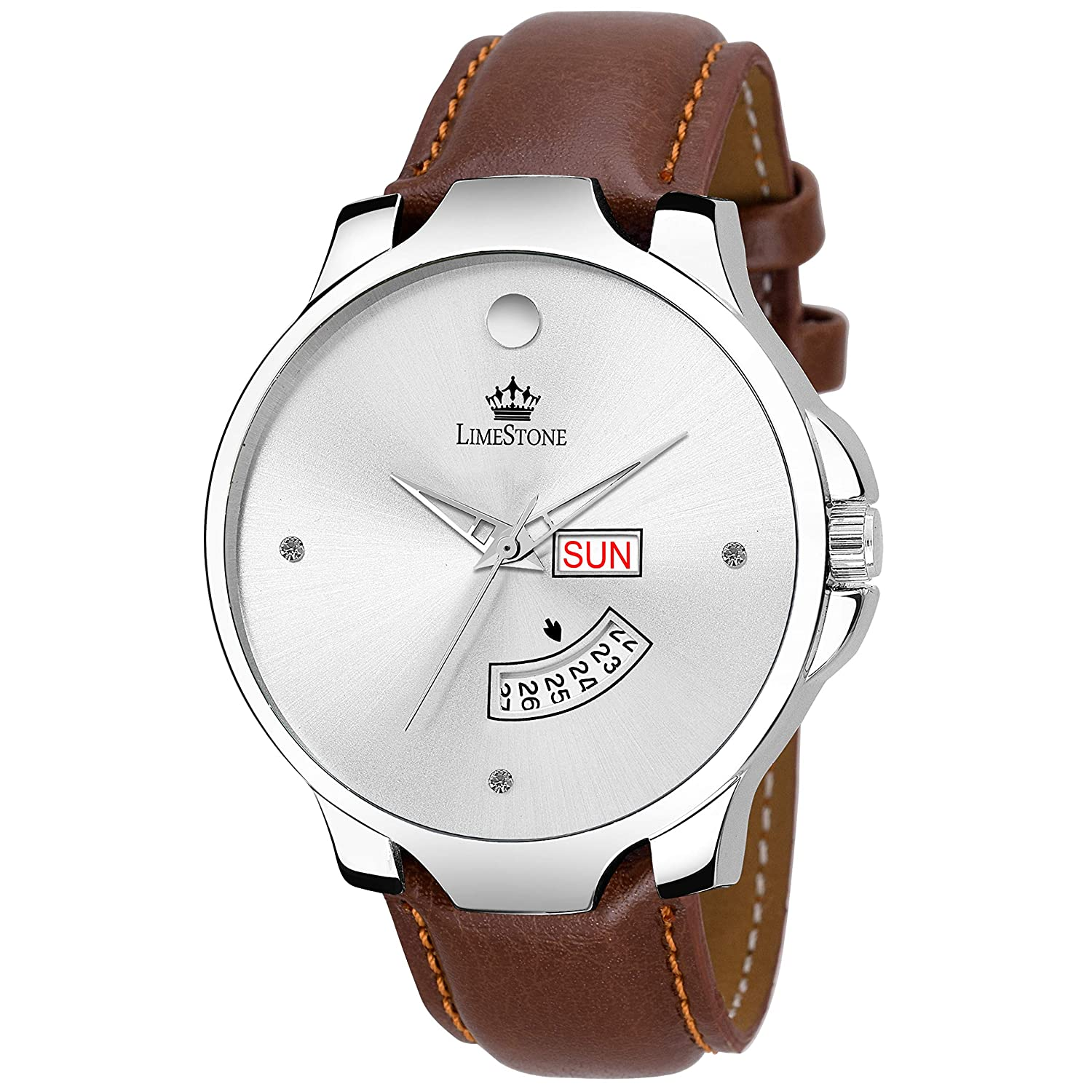 LIMESTONE The Stud Day and Date Analogue Silver Dial Men's