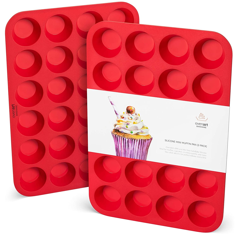 OvenArt Bakeware European LFGB Silicone Mini Muffin Pan, 24-Cup, 2-Pack