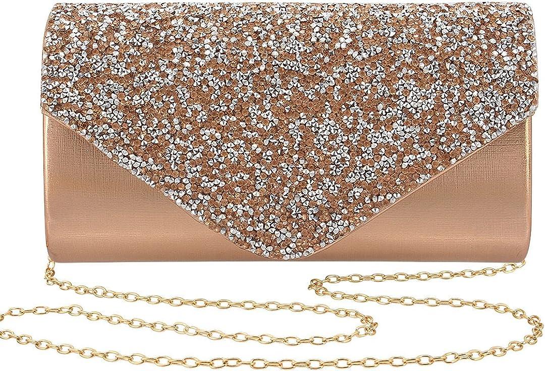 Gabrine Womens Evening Bag Handbag Clutch Purse Rhinestone-Studded Flap for Wedding Party Prom