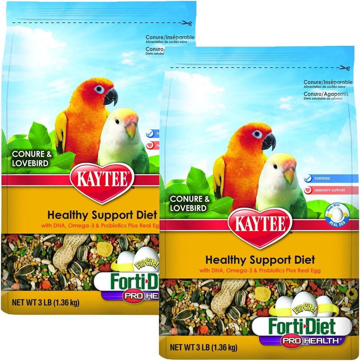 Kaytee Forti-Diet Pro Health Egg-Cite! Conure & Lovebird Food, 2 pack 3-lb bags