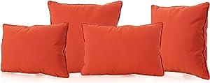 Christopher Knight Home Coronado Outdoor Water Resistant Pillows, 4-Pcs Set, Orange