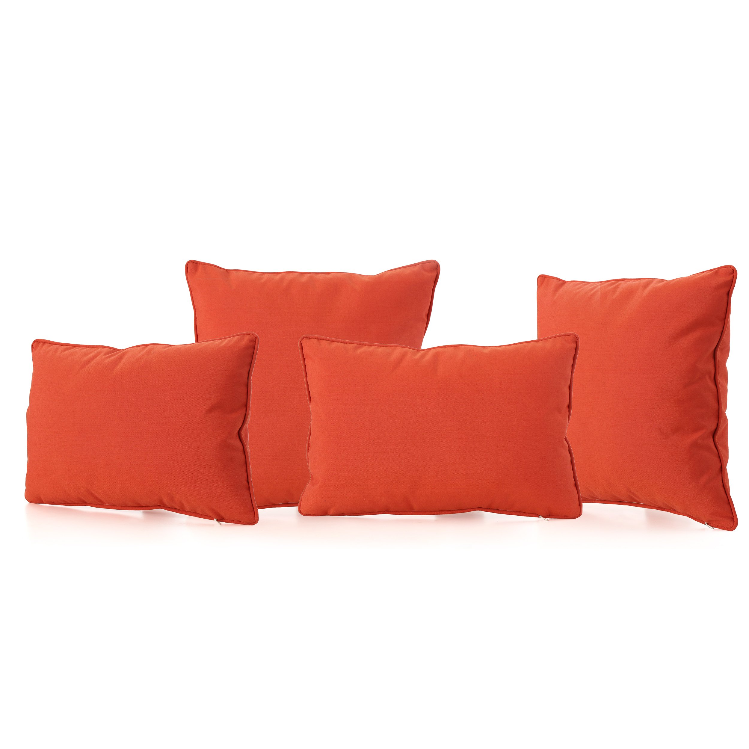 GDF Studio 300765 Corona Outdoor Patio Water Resistant Pillow Set (4, Orange)