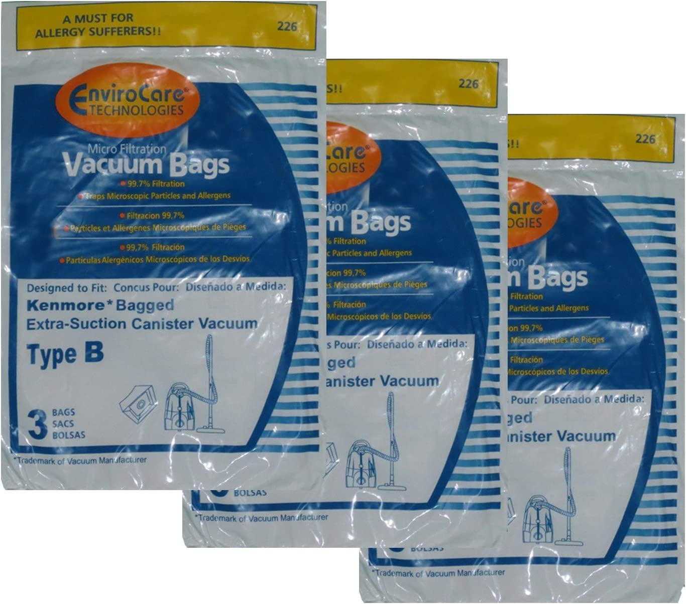 EnviroCare Replacement Micro Filtration Vacuum Bags for Kenmore Type B Galaxy Bagged Canister Models 9 Pack