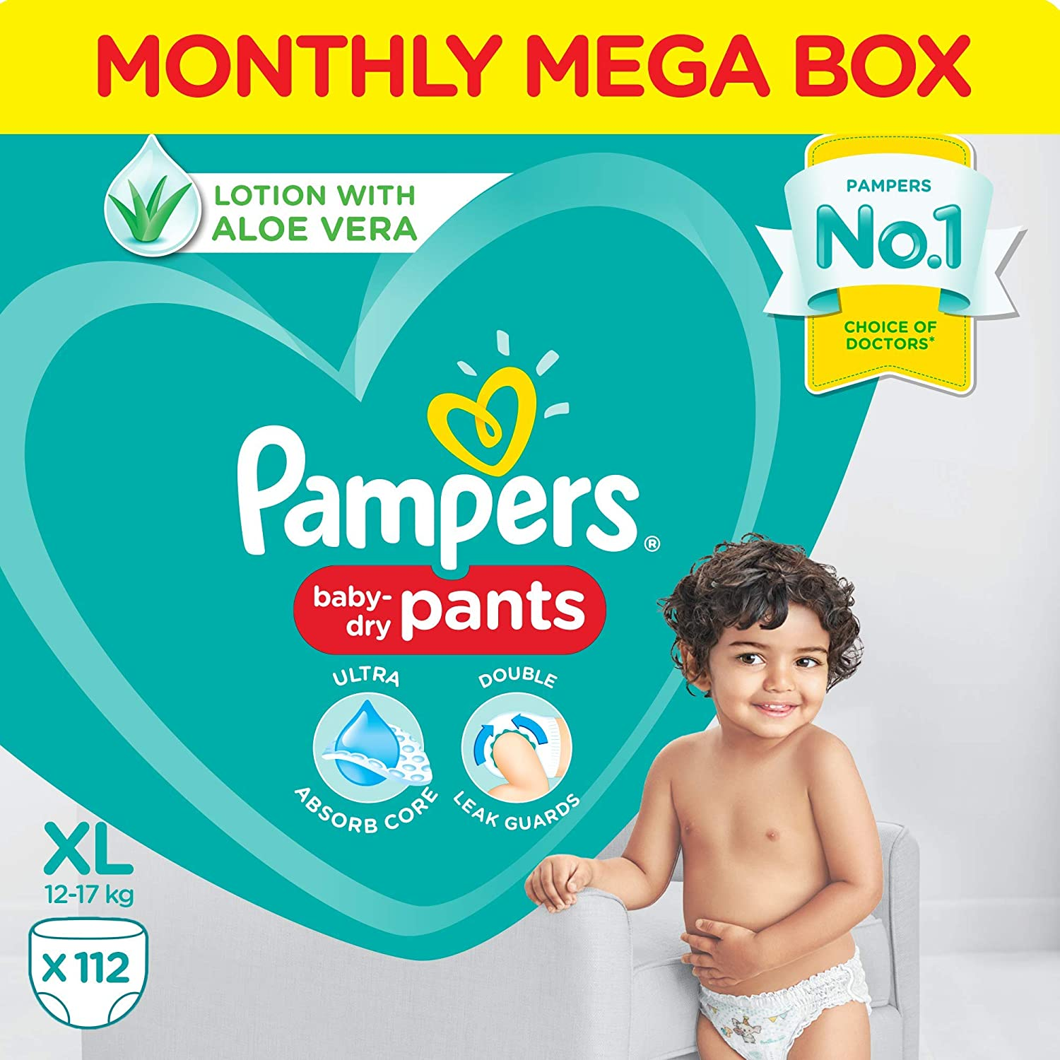 Pampers All round Protection Pants, Extra Large size baby diapers (XL), 112 Count