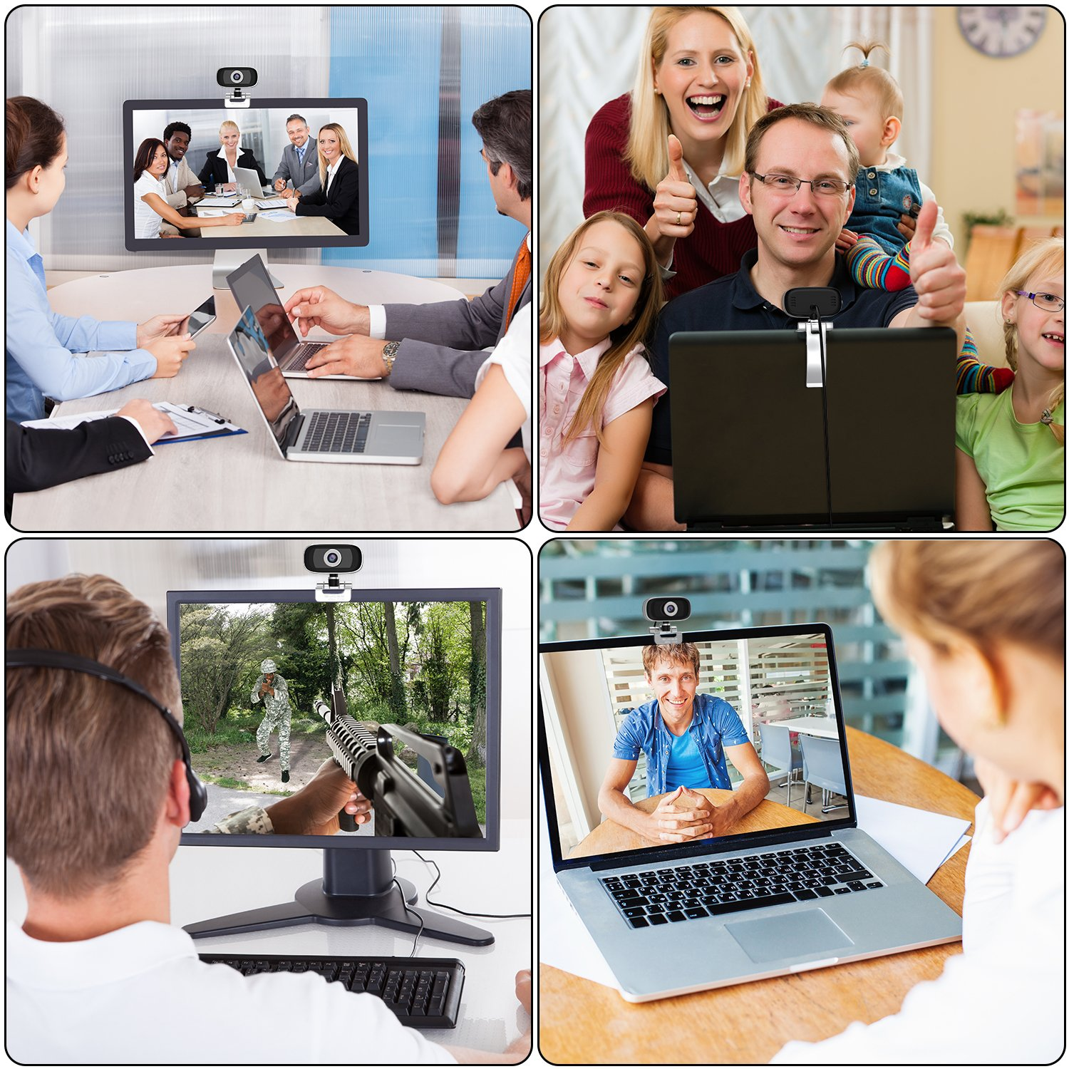 GUCEE HD96 720P HD Webcam with Tripod Ready Base (Tripod Not Included), Web Camera HD Microphone Wide Angle USB Plug and Play, Widescreen Calling Recording for Skype, Win 7 / 8 / 10, Apple Mac OS X by iRush (Image #6)
