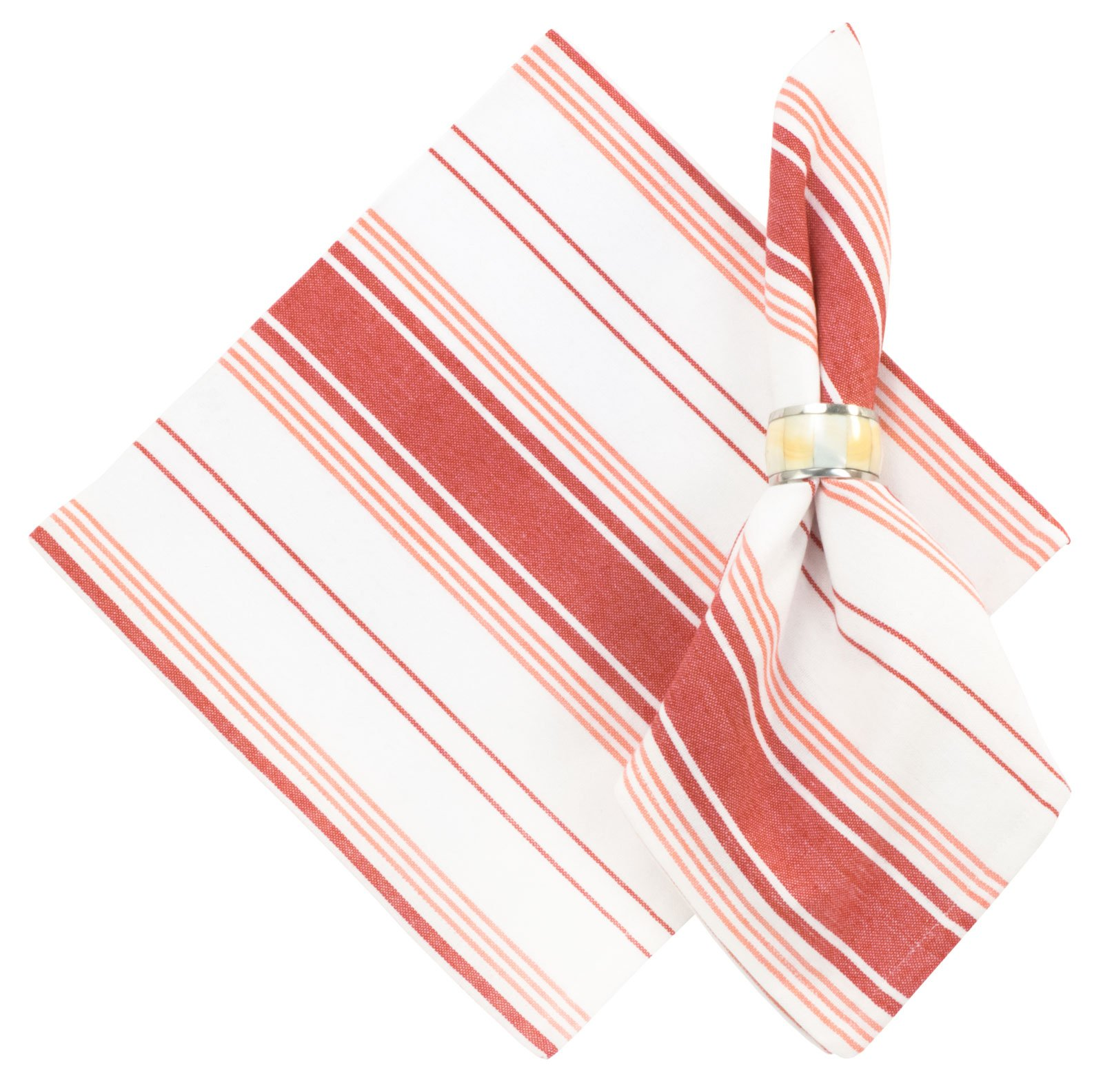 Traders and Company 100% Cotton Red & White Striped Napkin (Set of 6), Galley Red, 22''L x 22''W