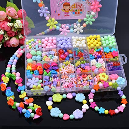 Amazon Com 600 Pcs Kids Beads Set Jewelry Making Kit Toddlers
