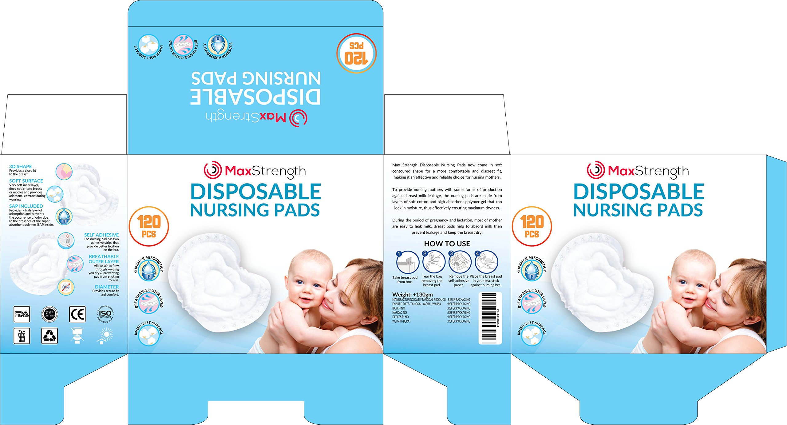 Nursing Pads 120pc Set of Super Soft Disposable Pads for Breastfeeding Mothers by Max Strength Pro, Padded Leak Proof Protection to Stay Dry During Day or Night, Super Absorbent, Sleep Easy Today!