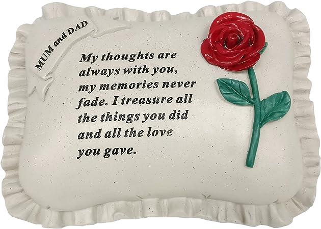 Special Mum /& Dad With Rose Pillow Graveside Ornament Memorial Plaque