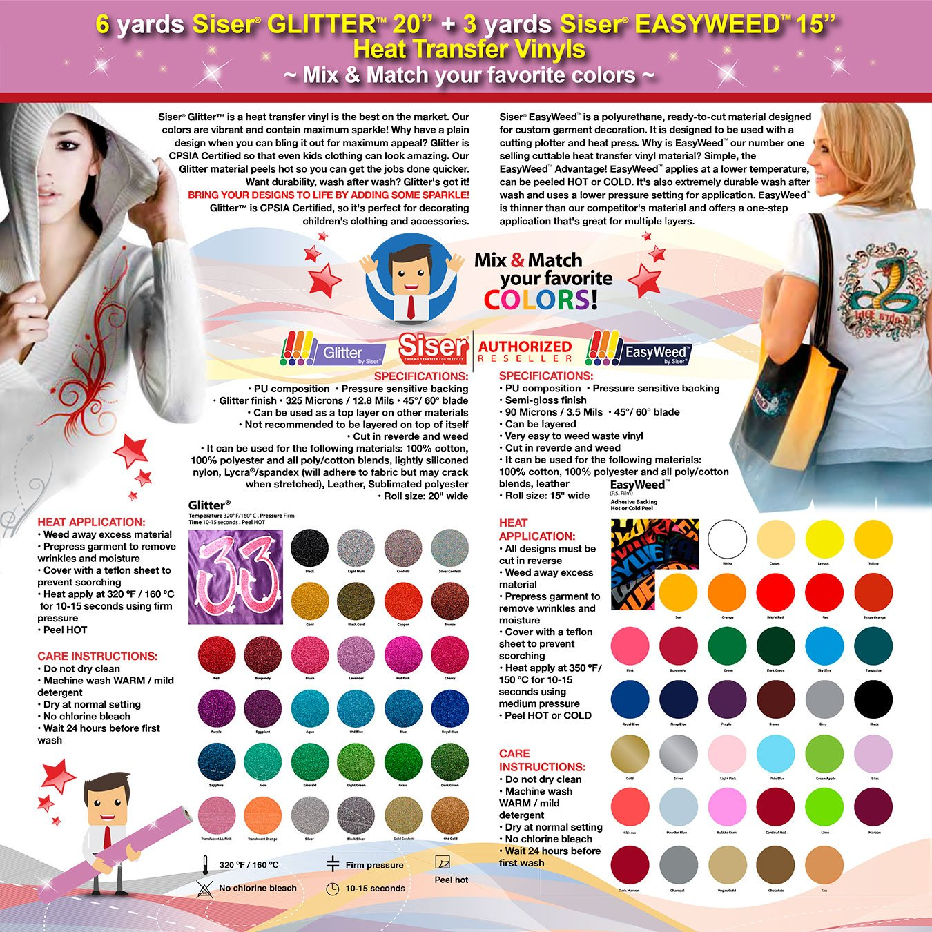 GERCUTTER Store: 6 yards SISER GLITTER + 3 yards SISER EASYWEED Heat Transfer Vinyls on Cotton or Polyester Mesh and Poly-blend Fabrics (Mix & Match your favorite colors) by GERCUTTER USA