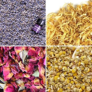 bMAKER Bulk Flower Kit Chamomile - Ultra Blue Lavender, Red Rose Buds & Petals, Marigold - 2 Cup Each Packet- Included Lavender Essential Oil