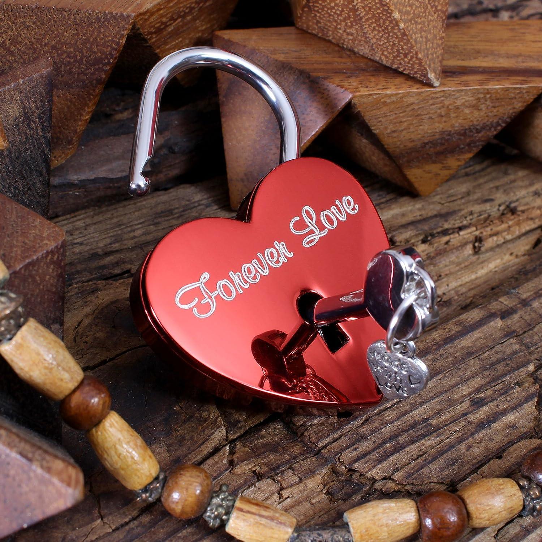 LIEBESSCHLOSS-FACTORY Candado de amor Rojo grabado en forma de coraz/ón Caja de regalo gratis y mucho mas.Dise/ña tu castillo ahora grabado!