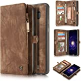 Galaxy S7 Case,AKHVRS Handmade Genuine Cowhide Leather Wallet Cover Case - Large Capacity zipper Leather Wallet Case Detachable Magnetic Hard Case for Samsung Galaxy S7 (Dark brown)