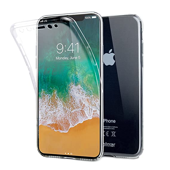 size 40 448c9 75373 Olixar iPhone X 360 Case - 360 Degree Full Body Cover - Front + Back  Protection - Clear Slim Design - FlexiCover - Wireless Charging Compatible