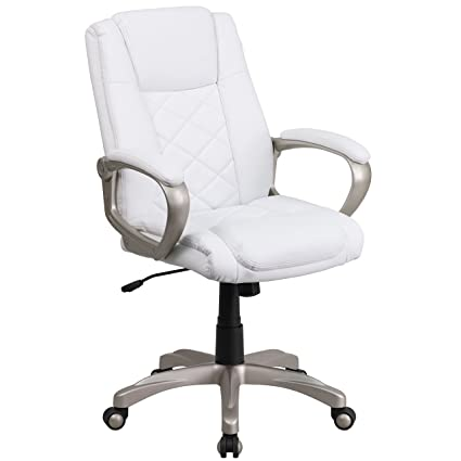 Amazon Com Mfo High Back White Leather Executive Office Chair With