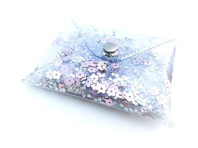 Handmade Designer Small Rose Transparent Glitter Coin Purse, Women's Clear Minimalist Style Pink Credit Card Holder